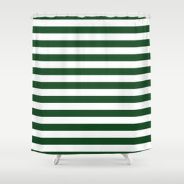 Large Forest Green and White Rustic Horizontal Beach Stripes Shower Curtain