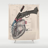 anxiety Shower Curtains featuring Anxiety by Grimmly Fiendish