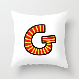 Uppercase Letter G Doodle Throw Pillow