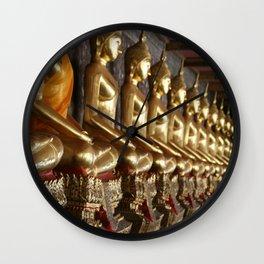 Golden Buddhas Wall Clock