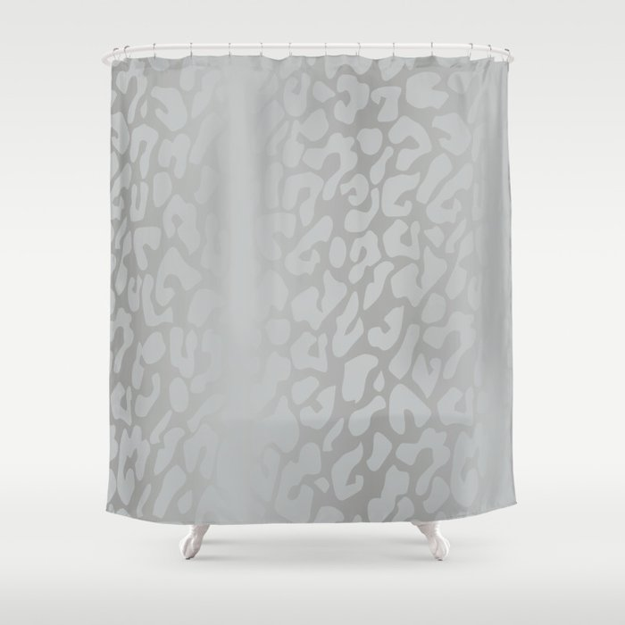 White Silver Leopard Print Shower Curtain