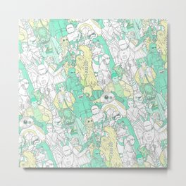 Space Toons in Pastel Greens and Yellow Metal Print