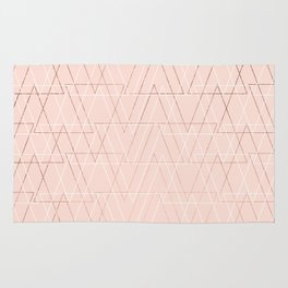 Modern white rose gold abstract geometric triangles on blush pink Rug
