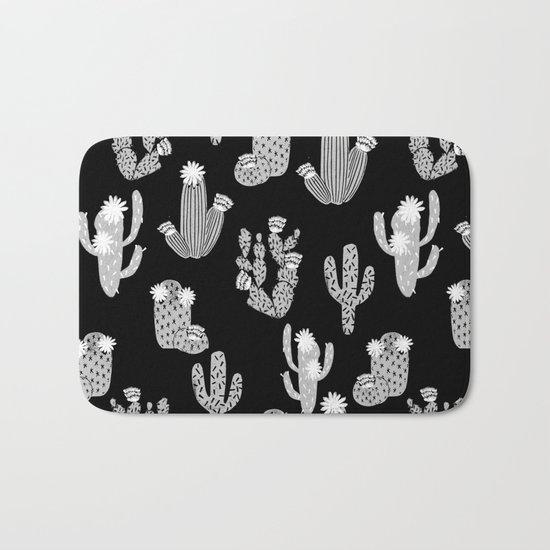 Cactus linocut black and white minimal desert southwest socal joshua tree Bath Mat