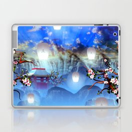 White lanterns with cherry blossom and mountain temple Laptop & iPad Skin