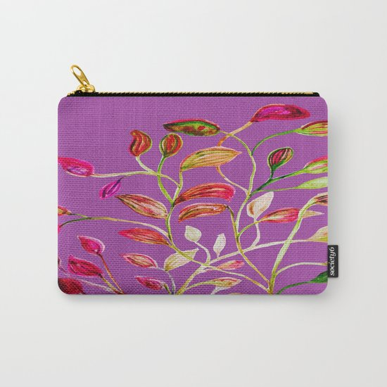 For Valentine's Day Enjoy Purple Plum, Red and Green Leaves! Carry-All Pouch