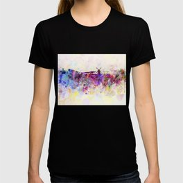 Amsterdam skyline in watercolor background T-shirt