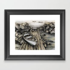 Old Boat on the Dock Framed Art Print