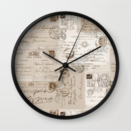Old Letters Vintage Collage Wall Clock