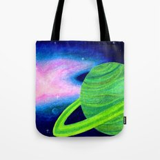 Green Planet, Pink Nebula Tote Bag