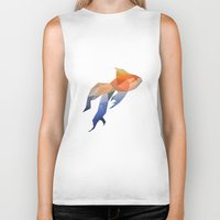 low poly Biker Tanks featuring Low Poly Fantail Goldfish  by The animals moved to - society6.com/dian