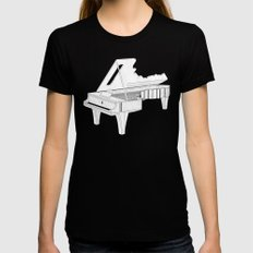 Music Is The Key. SMALL Black Womens Fitted Tee