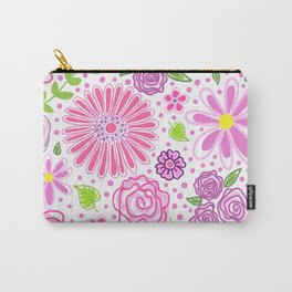 Happy Spring Flowers Carry-All Pouch