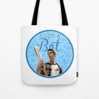 stiles stilinski Tote Bags featuring Stiles Stilinski - Bat by JulietteGD