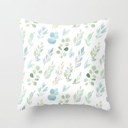 Pastel green teal hand painted watercolor leaves floral Throw Pillow
