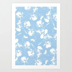 Hydranga pattern  - blue and white Art Print