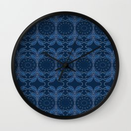 Japanese inspired stitching blue and white Wall Clock