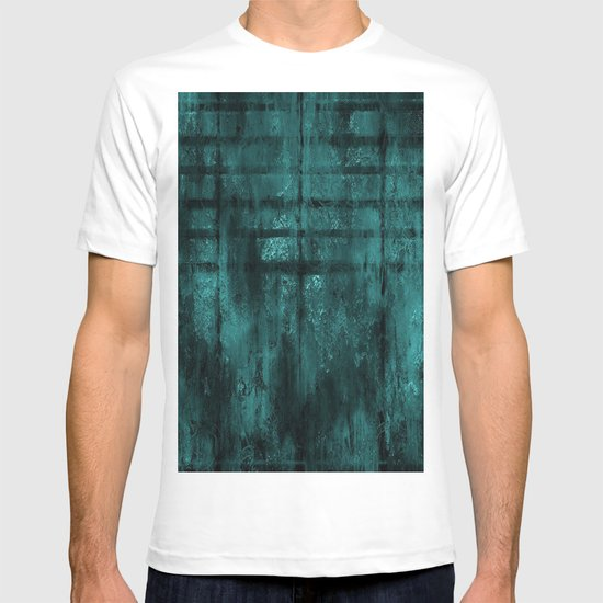 Turquoise Lined Rusted Metal Look T-shirt