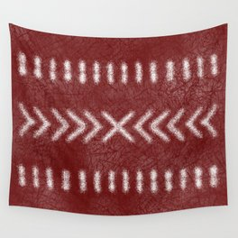 Minimalist Tribal Pattern on oxblood red Wall Tapestry