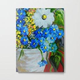 Flowers in a White Vase Metal Print