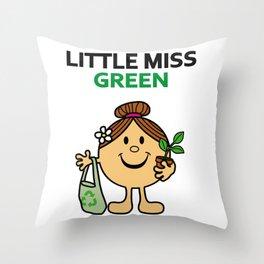 Little Miss Green Throw Pillow