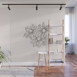 Daisy flowers line drawing - Nina I Wall Mural
