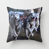 running Throw Pillows featuring Running by paulineamphlett