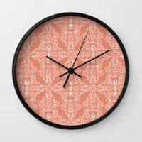 peach Wall Clocks featuring Peach by katharine stackhouse