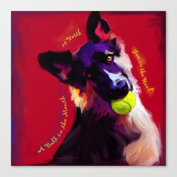 A Ball in the Mouth Canvas Print