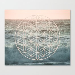 Mandala Flower of Life Sea Canvas Print