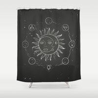 sun and moon Shower Curtains featuring Moon, sun and elements by Daria Rosen