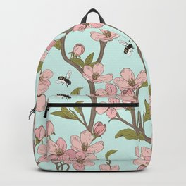 Lovely Cherry Blossom And Honey Bee Springtime Pattern Backpack