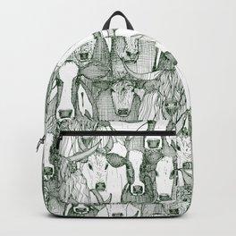 just cattle dark green white Backpack