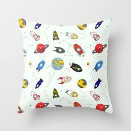 Rockets and planets space print Throw Pillow