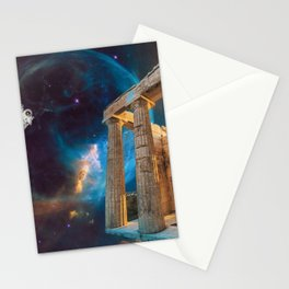 Parthenon Acropolis Greece Meets Space and Astronaut Stationery Cards