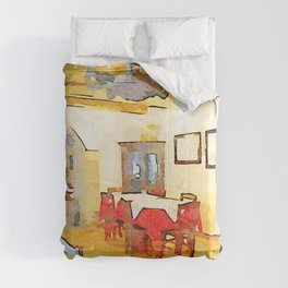 Dining room of restaurant Comforters