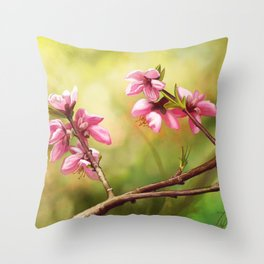 Spring and pink flowers on a branch Throw Pillow