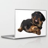 rottweiler Laptop & iPad Skins featuring Cute Rottweiler Puppy Vector by taiche