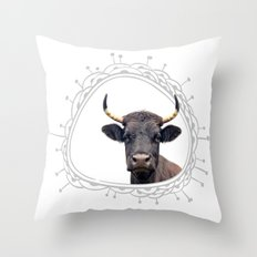 Yellow Horns Throw Pillow