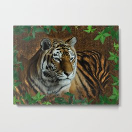 Tiger Woodburn with Vines Metal Print
