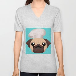 Cute Pug Chef Puppy Love Unisex V-Neck