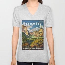 Yosemite National Park Vintage Travel Poster Landscape Illustration Unisex V-Neck