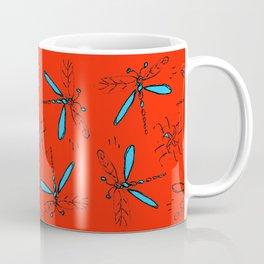 Turquoise Dragonflys On Red-Orange Back Coffee Mug