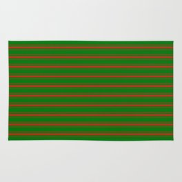 Christmas Red and Green Mattress Ticking Bedding Stripe Rug
