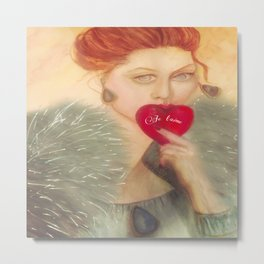 Sealed With A Kiss Watercolor Metal Print