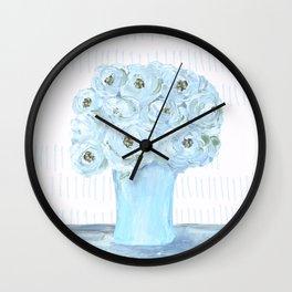 Boho still life flowers in vase Wall Clock