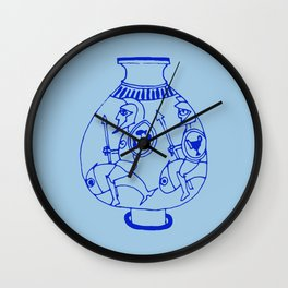 Greek pottery II: ridding fishes Wall Clock