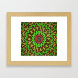 Lovely Healing Mandala  in Brilliant Colors: Green, Brown, Copper, and Maroon Framed Art Print