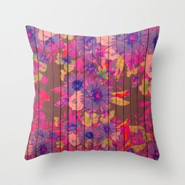 Brown wood magenta purple watercolor floral Throw Pillow