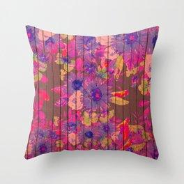 Brown wood magenta purple watercolor floral Throw Pillow